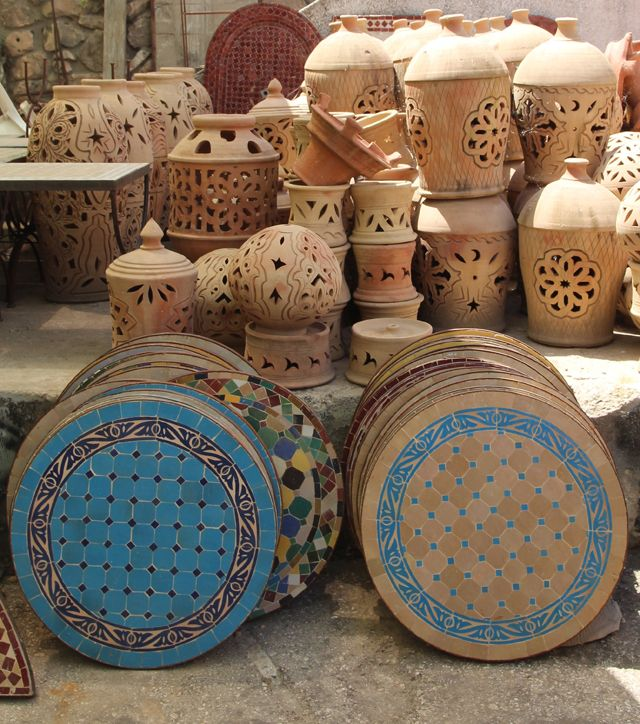 Nice Moroccan Mosaic Small Table Rounds + Pots, From Bazaar In Rosh Pina.via CJM