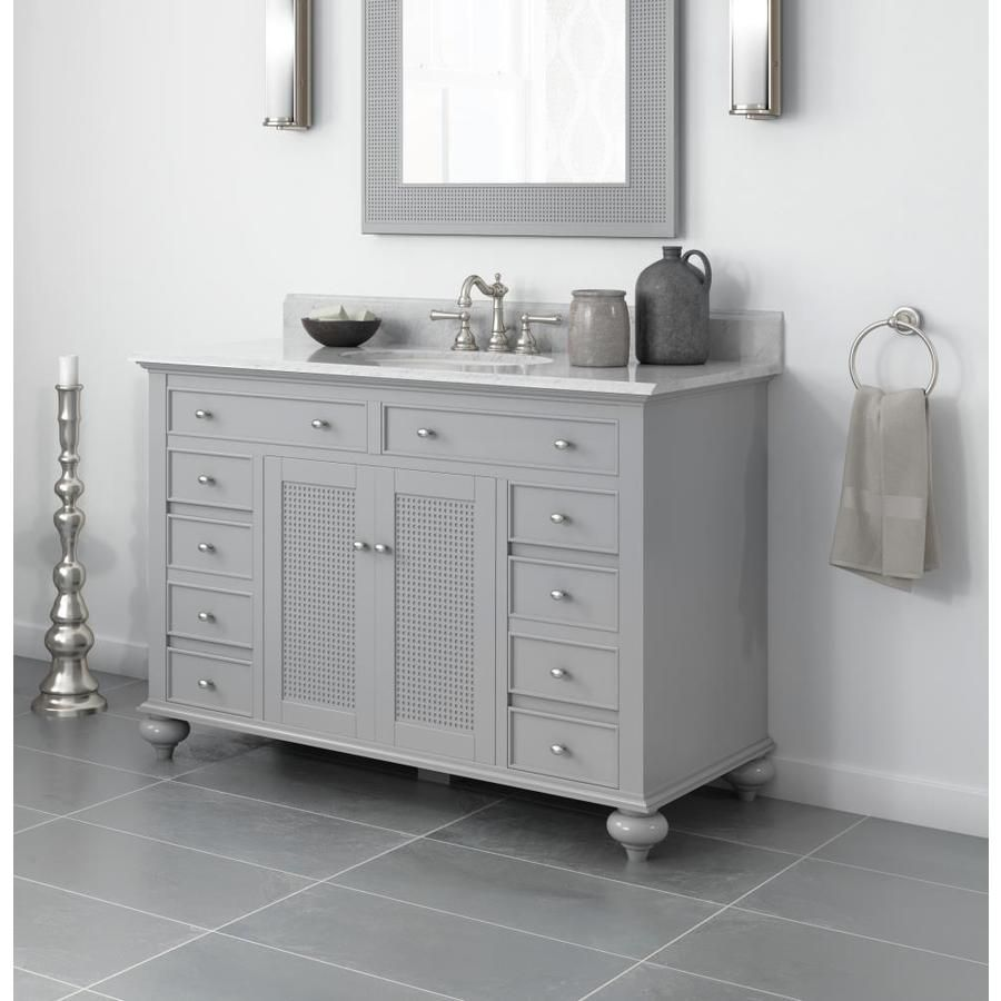 Jacuzzi Barrea 48 In Grey Single Sink Bathroom Vanity With White