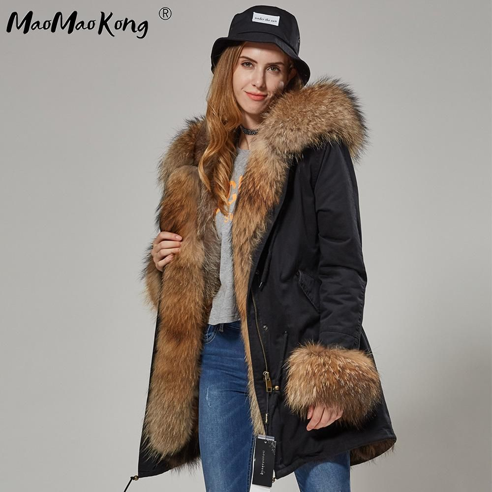 5c9b46214 Maomaokong Brand Unisex Autumn Fur Coat Raccoon Fur Collar Fox Fur ...