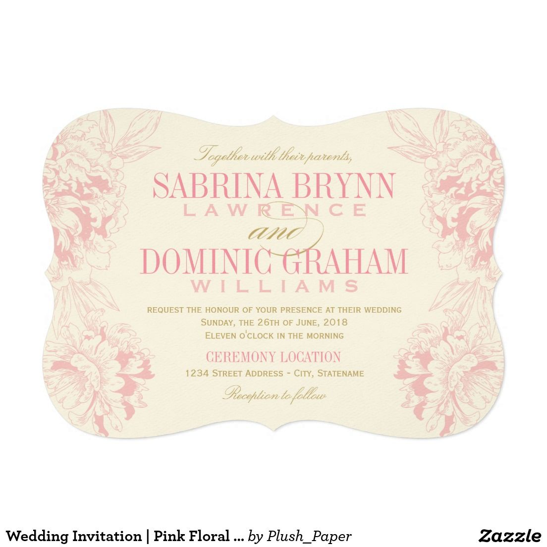 Wedding invitation pink floral peony design peony and wedding wedding invitation pink floral peony design stopboris Choice Image