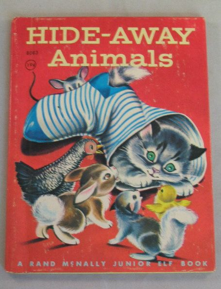 'Hide-Away Animals', Vintage Rand McNally Junior Elf Book 1957, illustrated by Mary Jane Chase, via Etsy.