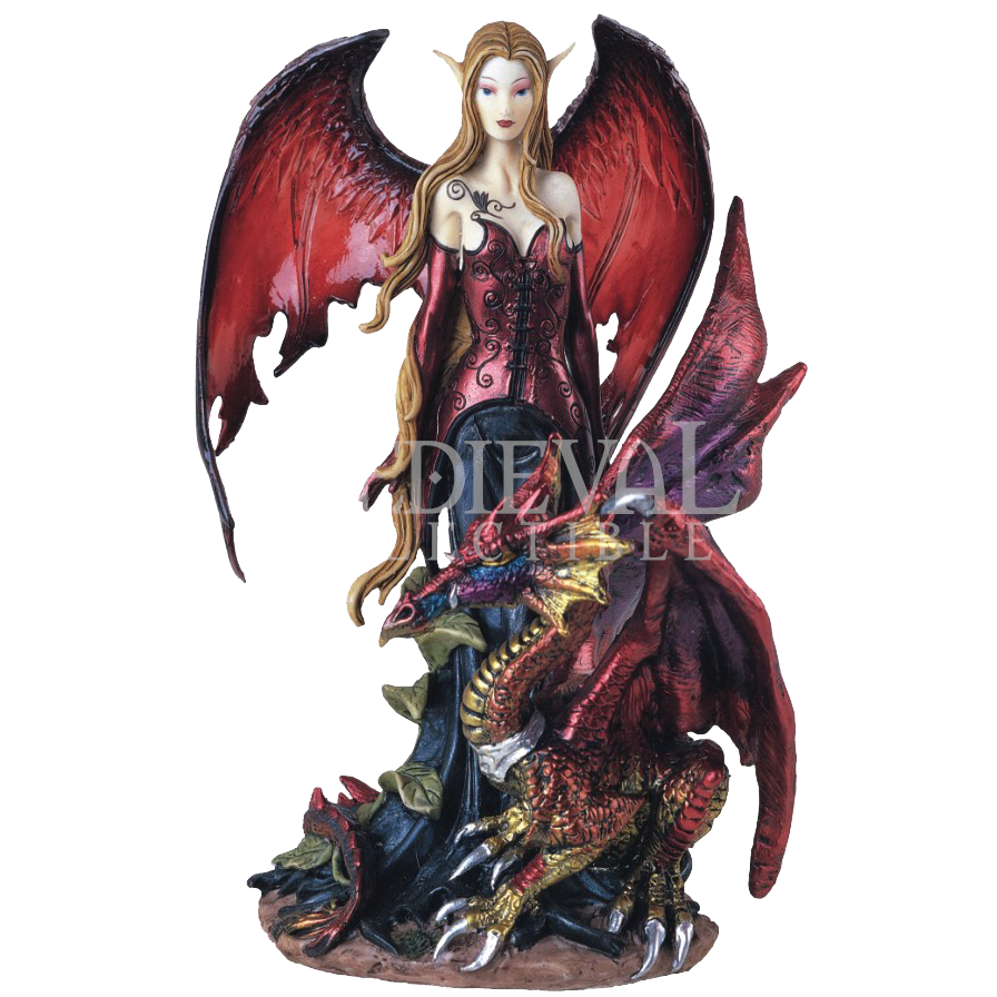 Dragon and fairy statues elven fairy with red dragon statue 05 91277 by medieval - Fairy statues for sale ...