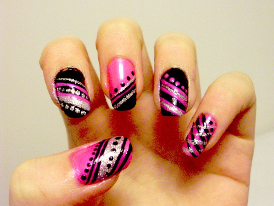 Harajuku nails by xjasmine on deviantart pink black and silver love is at your fingertips celebrate the holiday with one of these valentines day nail art design surprise your soul mate with valentines day nail prinsesfo Gallery