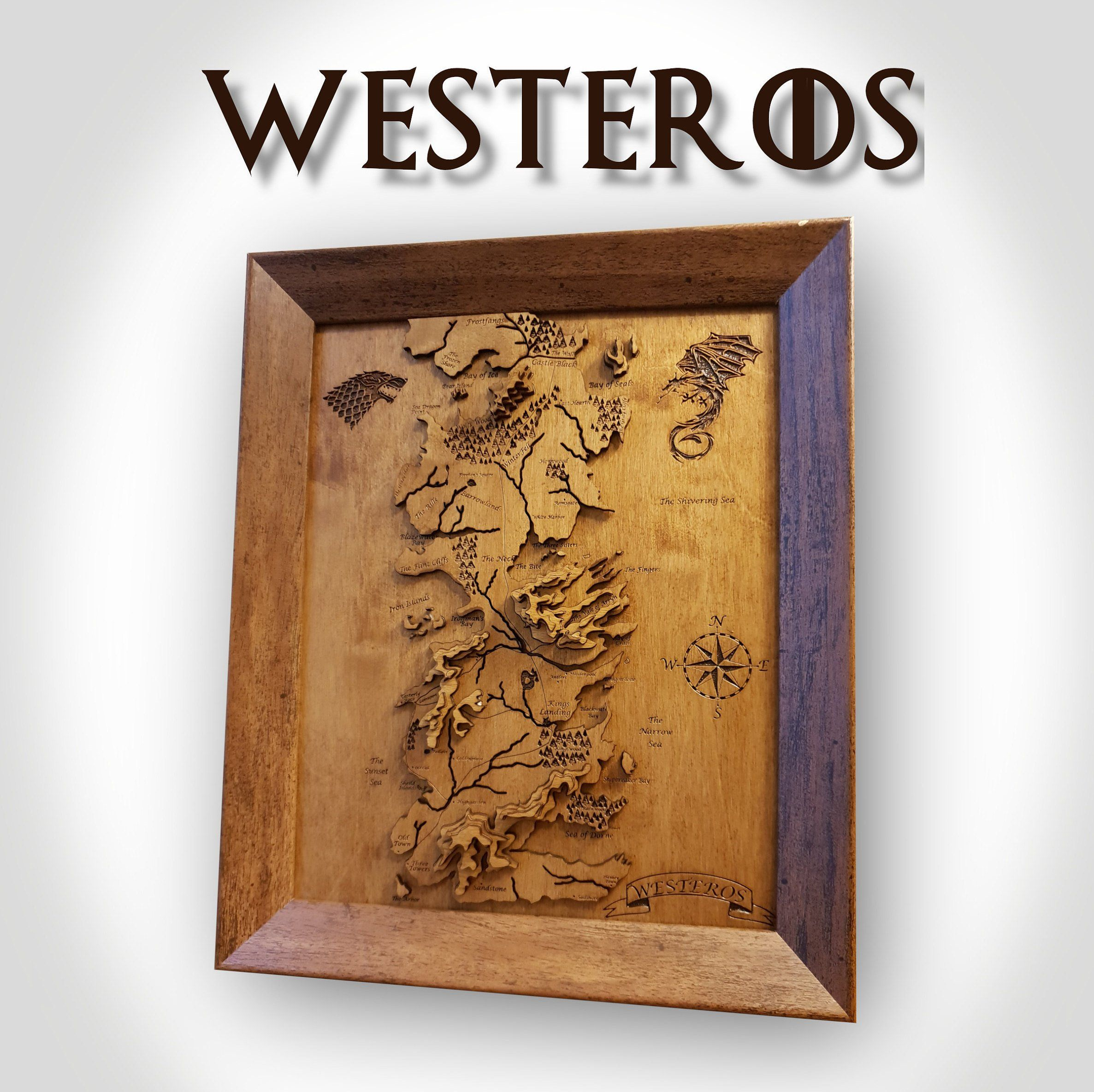 Westeros Game Of Thrones 3d Topographical Wooden Map In 2019