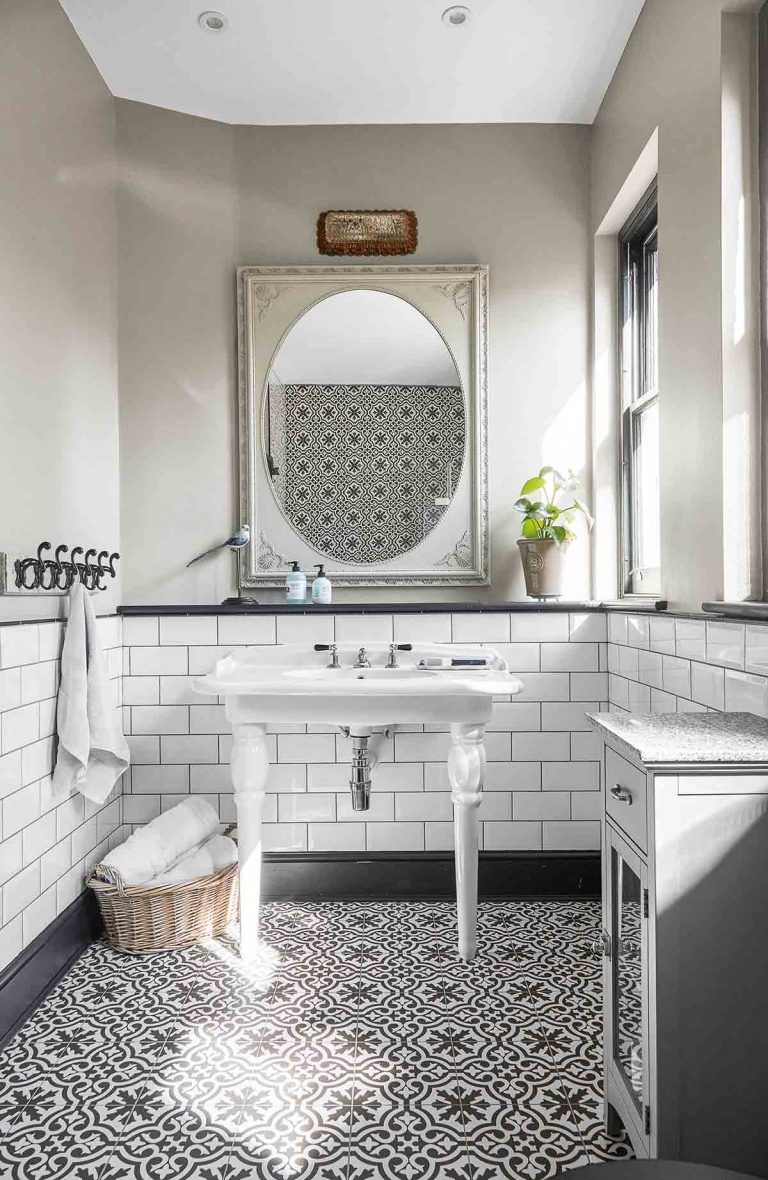 Beautiful Bathrooms With Black And White Cement Tile Patterned Bathroom Tiles Tile Bathroom Metro Tiles