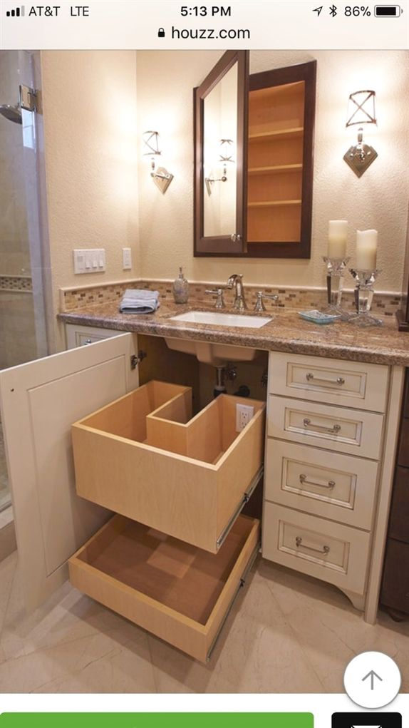 Love the drawer under sink #MasterBathrooms Master bath vanity in