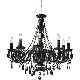 For a louis themed dramatic dinning room renovation ideas jet black nine arm chandelier aloadofball Images