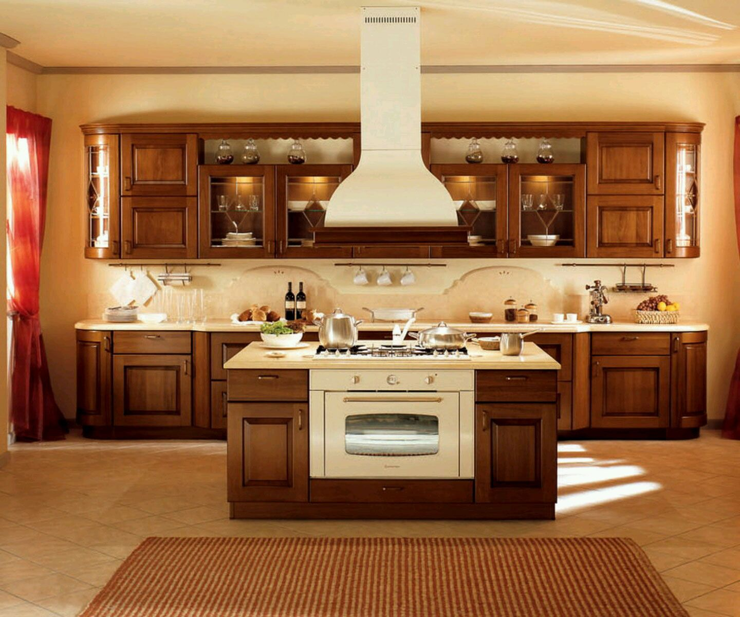 Genial Compact Island With Cooktop And Oven Ideas With Rectangular Rug Also Trendy  Wood Kitchen Cabinet Design