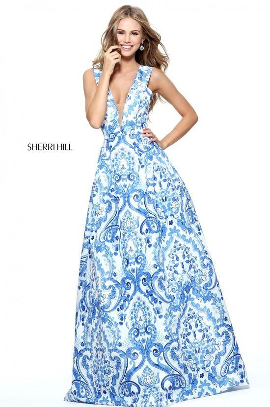 13e487b4862 51014 - SHERRI HILL Size 4  SherriHill  Prom  Prom17  Prom2017  Prom2k17   PromDress  Blue  Ivory  BlueAndIvory  Print  Paisley  DeepV  IllusionV    ...