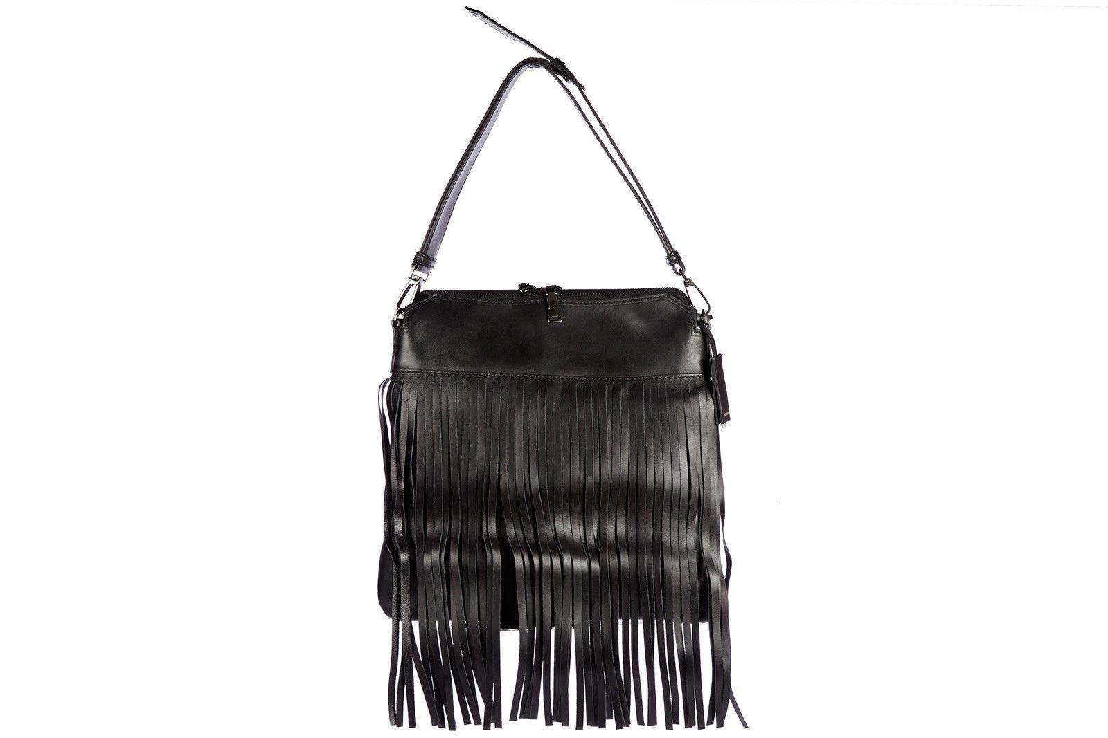 5115937a060 MIU MIU WOMEN S LEATHER SHOULDER BAG NEW ORIGINAL CITY CALF FRINGES BLACK  005