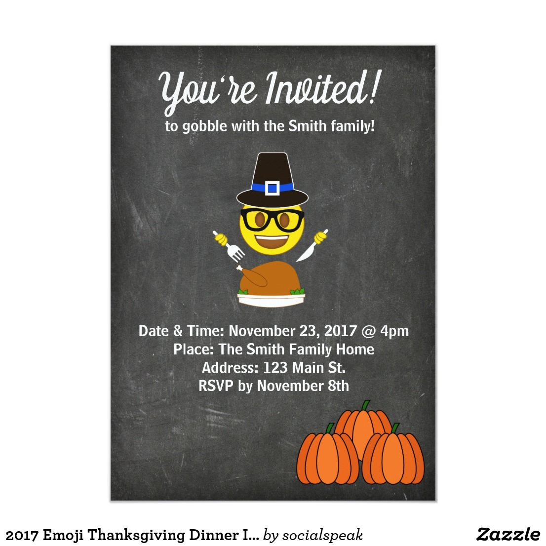 2017 Emoji Thanksgiving Dinner Invitation Thanksgiving Dinner Invitation Thanksgiving Invitation Dinner Invitations