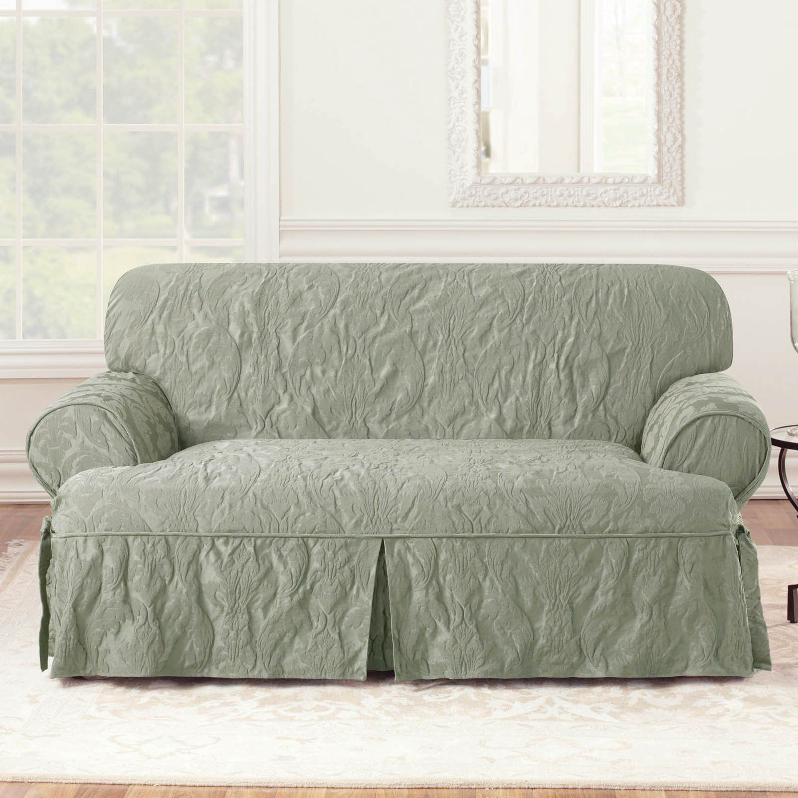 Sure Fit Matelasse Damask T-Cushion Loveseat Cover GOLD   NEW IN PACKAGE