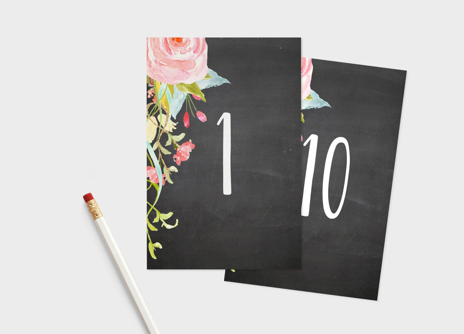 printable table numbers 4x6 chalkboard and floral wedding table
