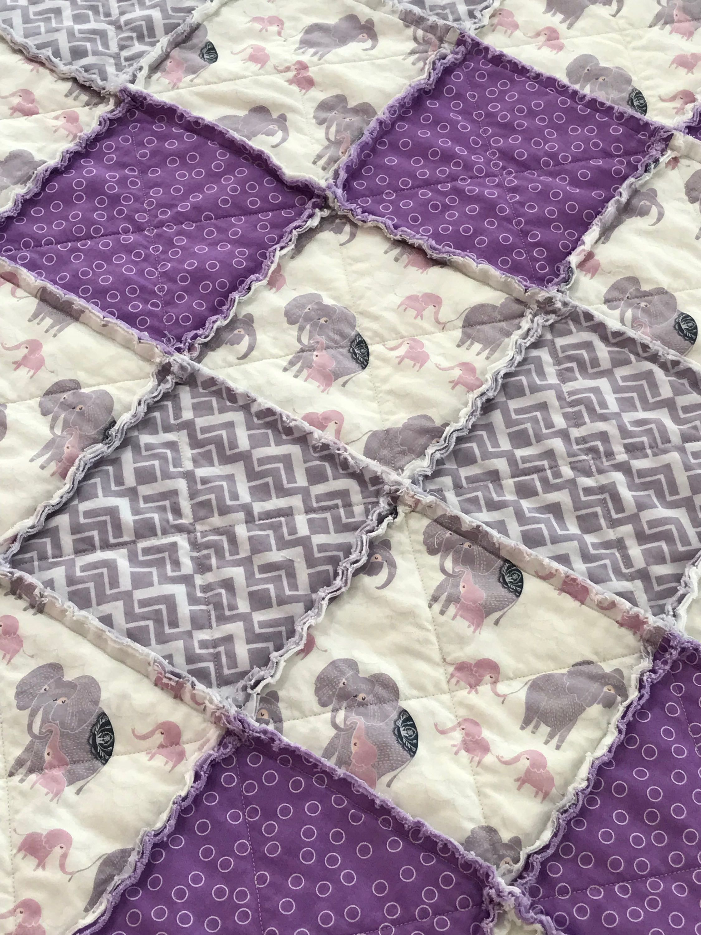 Grey and Blue Handmade Baby Quilt For Nursery Toddler Warm Soft Baby Blanket