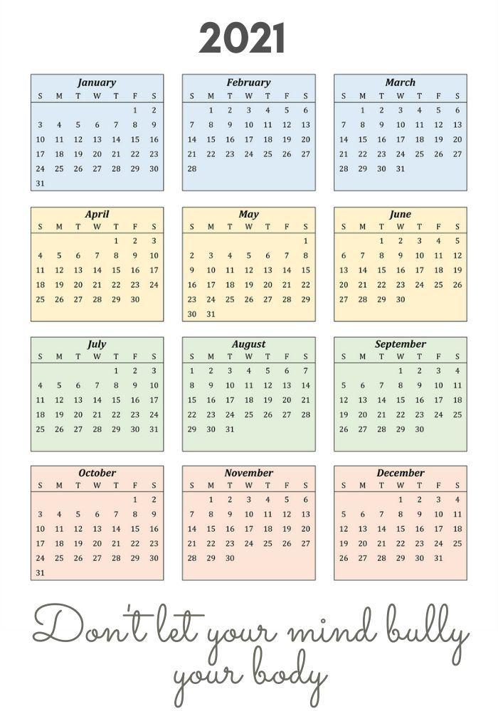 2021 Inspiring Calendar With Quote In 2020 2021 Calendar Calendar Stickers Sketchbook Journaling