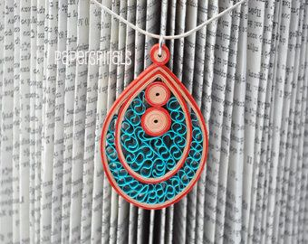 Quilled Paper Pendant | Teardrop Necklace | Teal. Beige. Orange