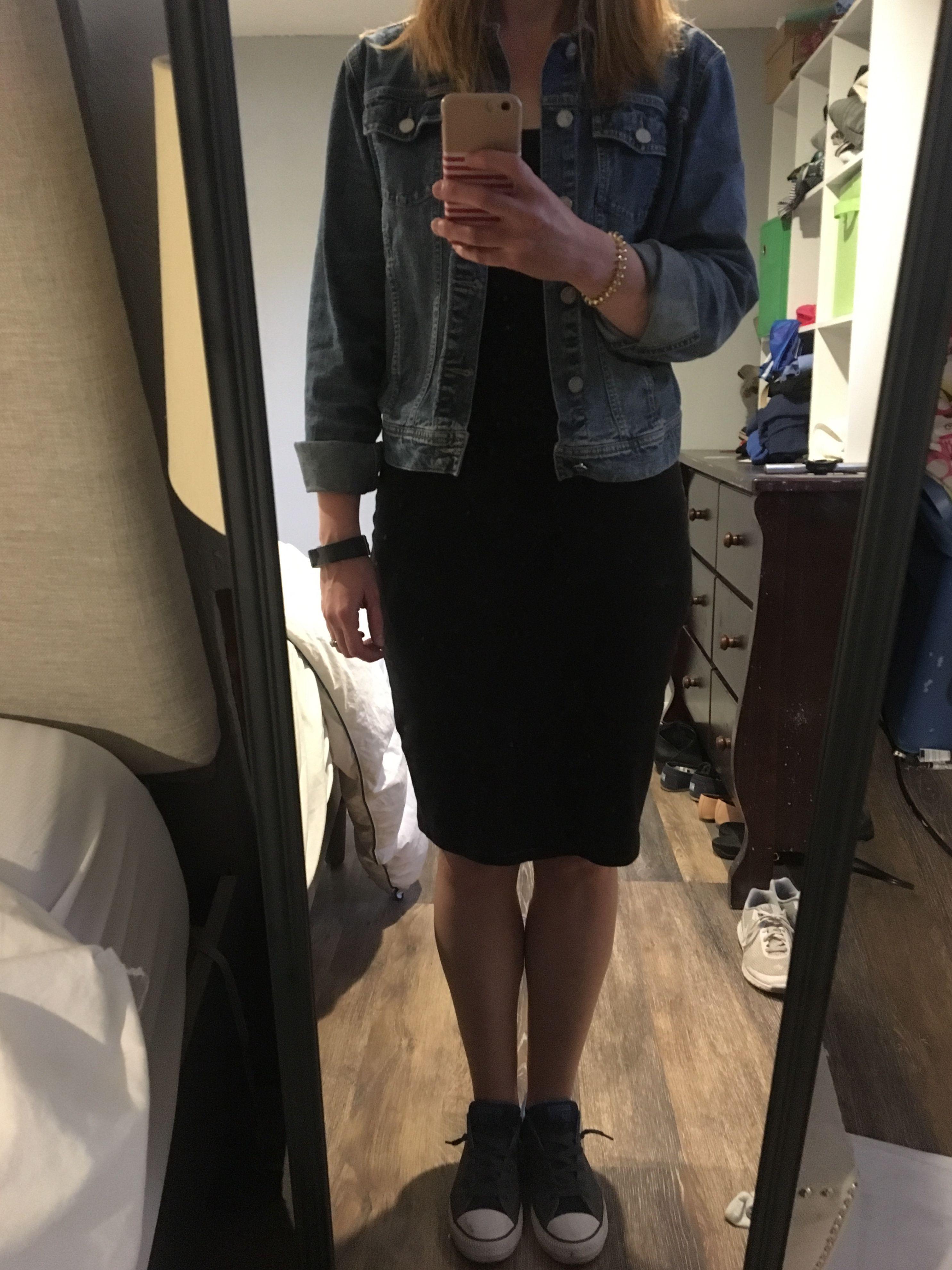 Ootd Black Bodycon Dress Jean Jacket Converse Shoes Black Bodycon Dress Black Bodycon Bodycon Dress [ 3962 x 2971 Pixel ]