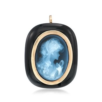 C. 1980 Vintage Carved Blue Agate Cameo Pin Pendant With Black Onyx in 14kt Yellow Gold
