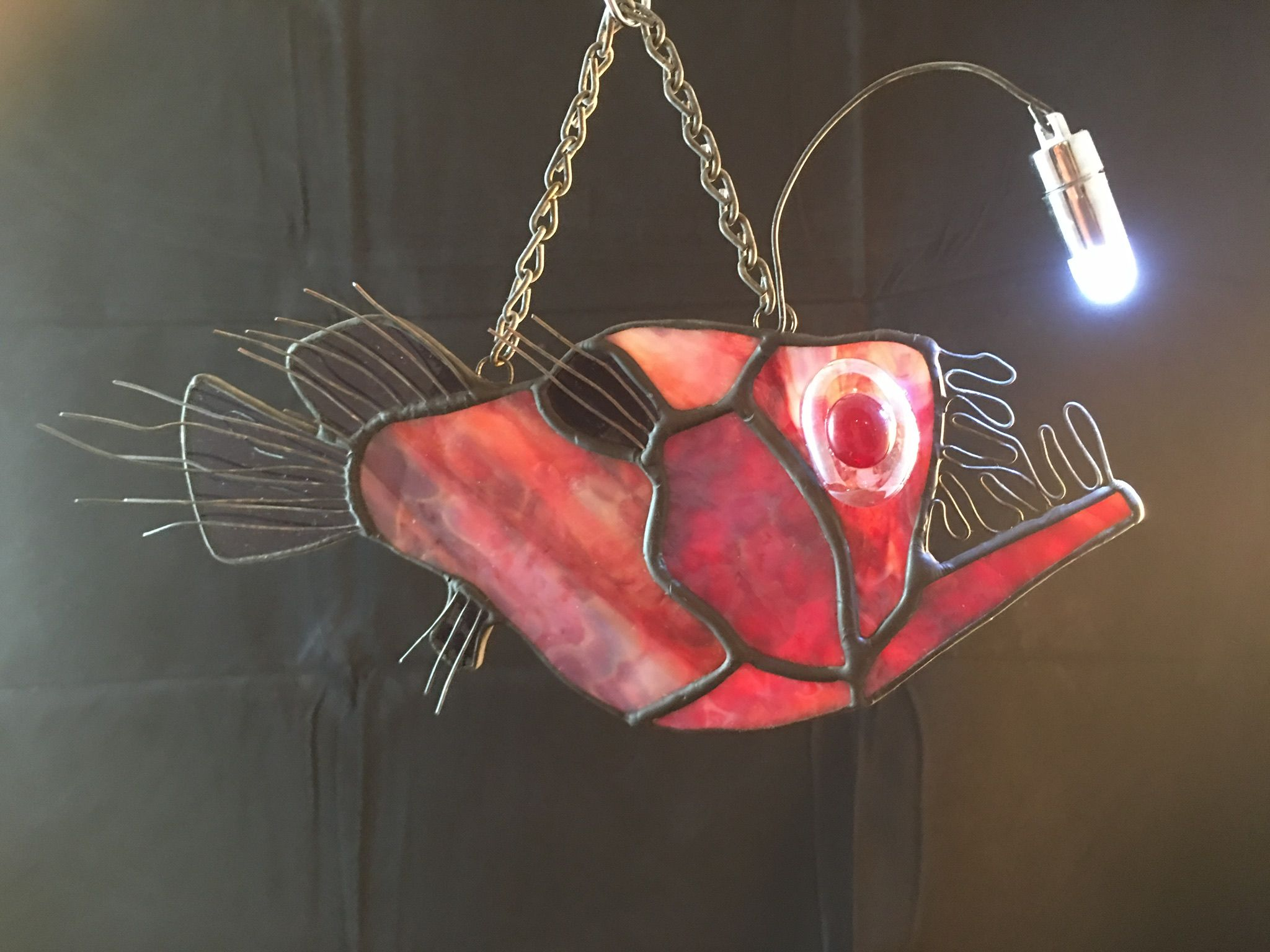 Stained Glass Red Angler Fish. LIGHTS UP! Rockfish Studios ...