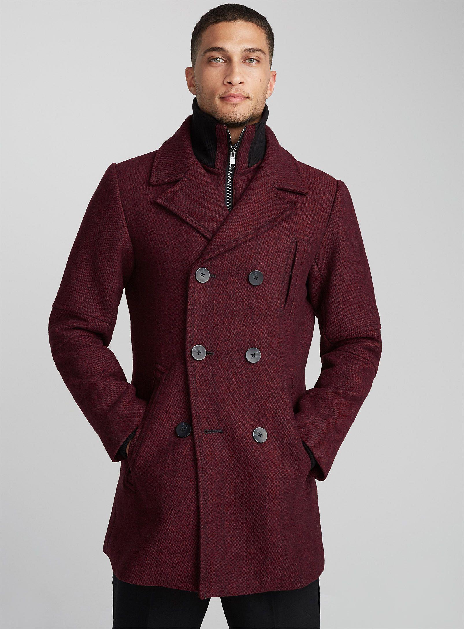 Heathered double-collar peacoat   Le 31   Shop Mens Wool Coats, Trench  Coats   Pea Coats in Canada   Simons 3dcad5ac14