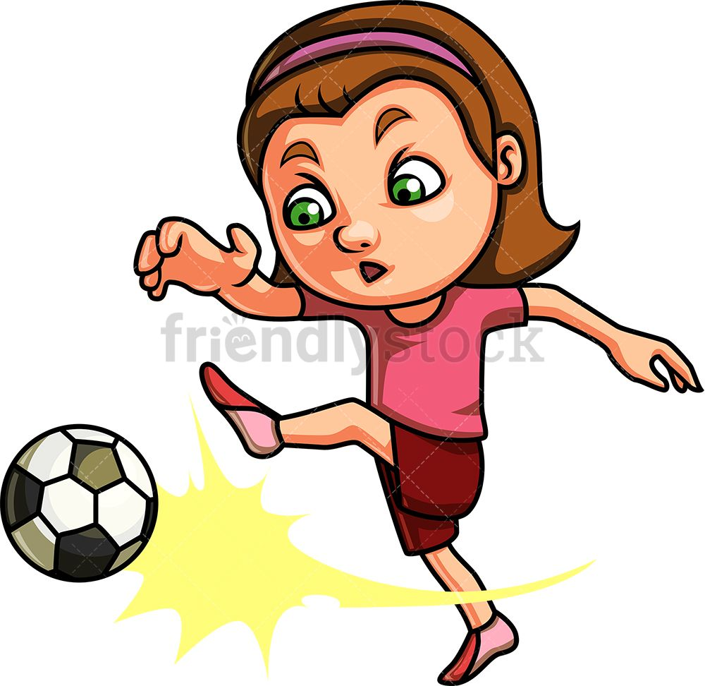 Little Girl Playing Soccer Cartoon Clipart Vector Friendlystock Girl Playing Soccer Girls Playing Football Nursery Art Boy