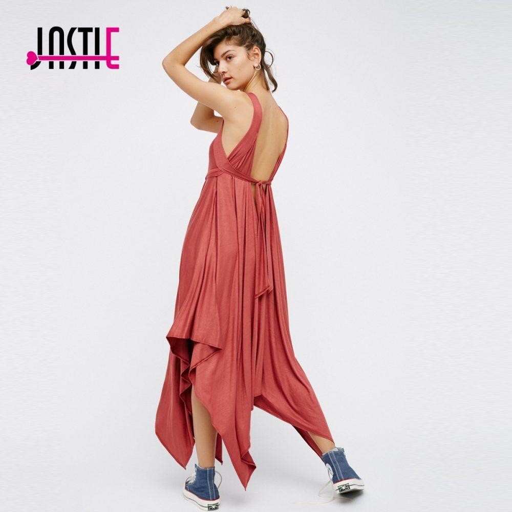 a412ec1a73e0 Jastie V-Neck Low V Back Sexy Midi Dress Uneven Hem Chic Seaside Styles  Beach
