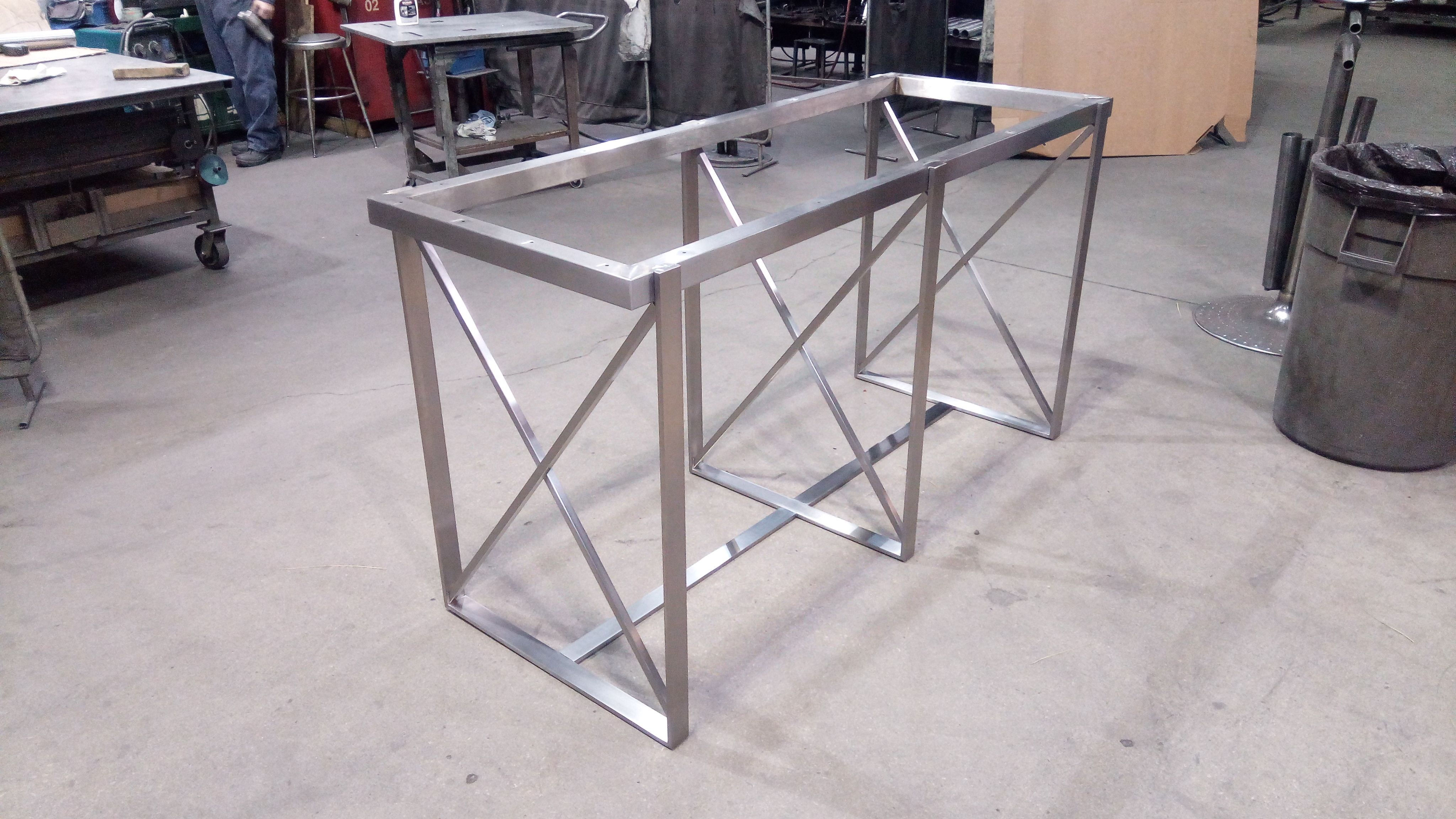 Custom Stainless Steel Metal Table Frame. Finished With A Brushed Finish. Bar  Height.