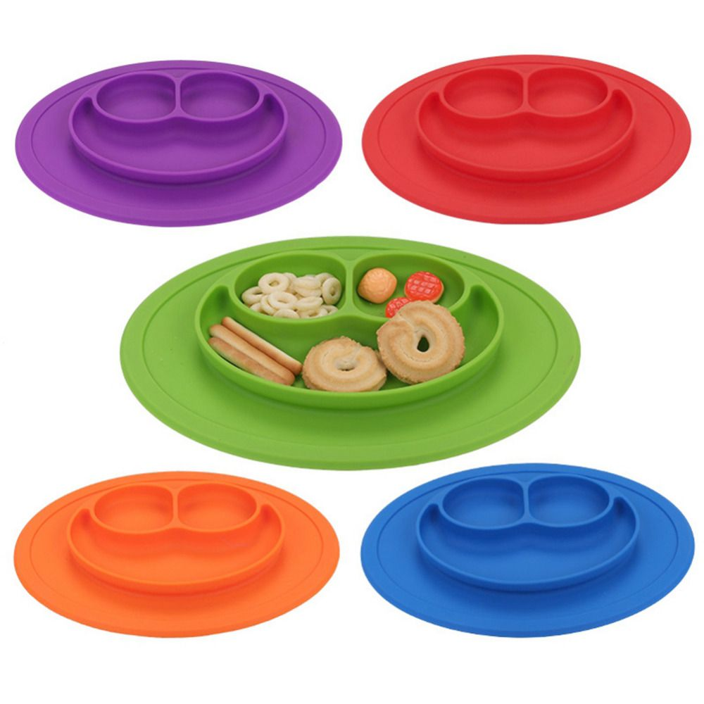 2017 New Smiling Face Shape Baby Feeding Food Plate