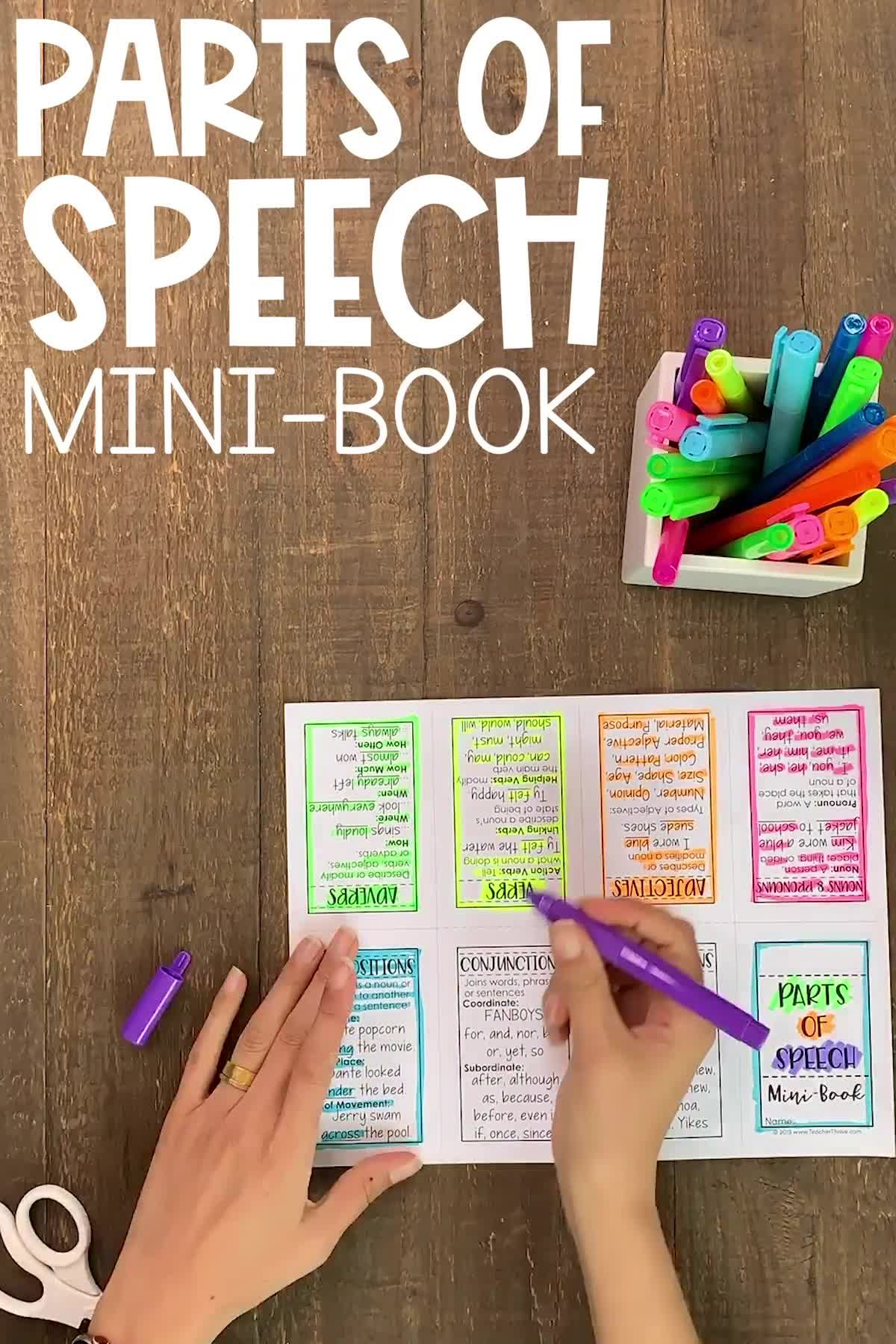 Free Parts of Speech mini-book. This handy grammar review requires just one sheet of paper. No staples or glue required.