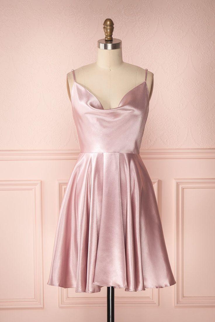 Einfache A-Linie Wasserfallausschnitt Open Back Blush Pink Satin Short Homecoming Kleider, Back to School Kleider   – Products