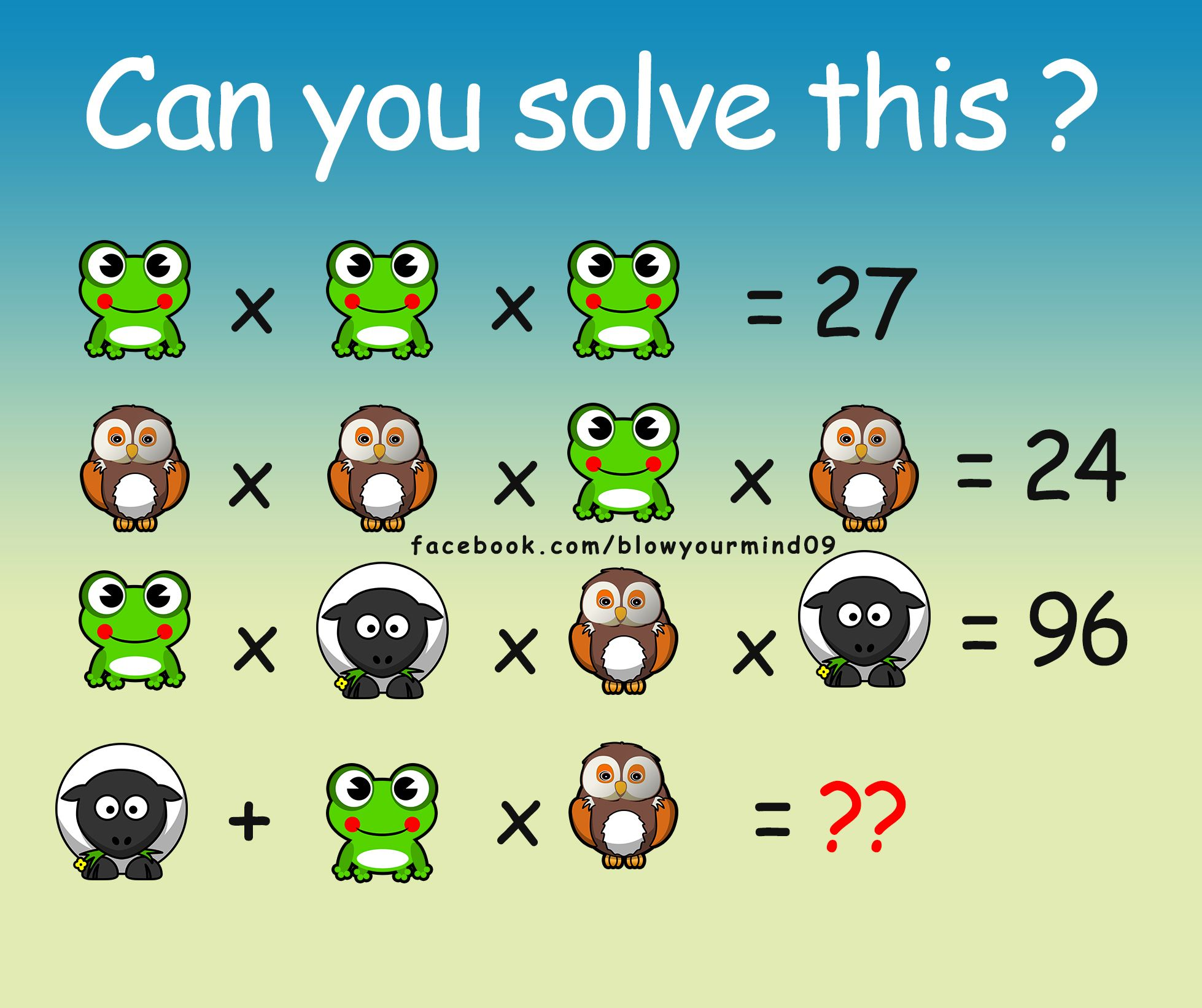 Can you solve this cute looking puzzle.Taken from https://facebook ...