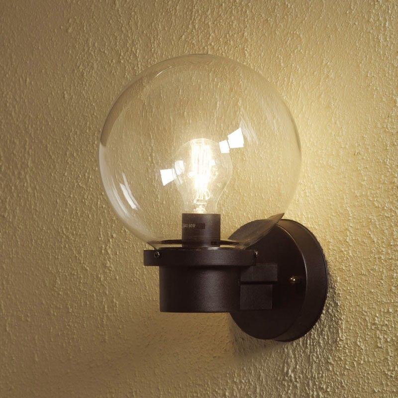 Konstsmide Nemi Globe Outdoor Wall Light with Dusk to Dawn Sensor ...