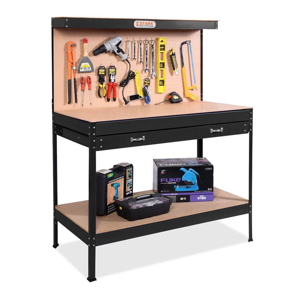 Pliant Etabli plans Bricolage Garage Stockage Banc Table avec étagère Organisateur