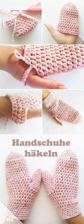 Handschuhe häkeln - Kostenlose Anleitung für warme Fäustlinge ...