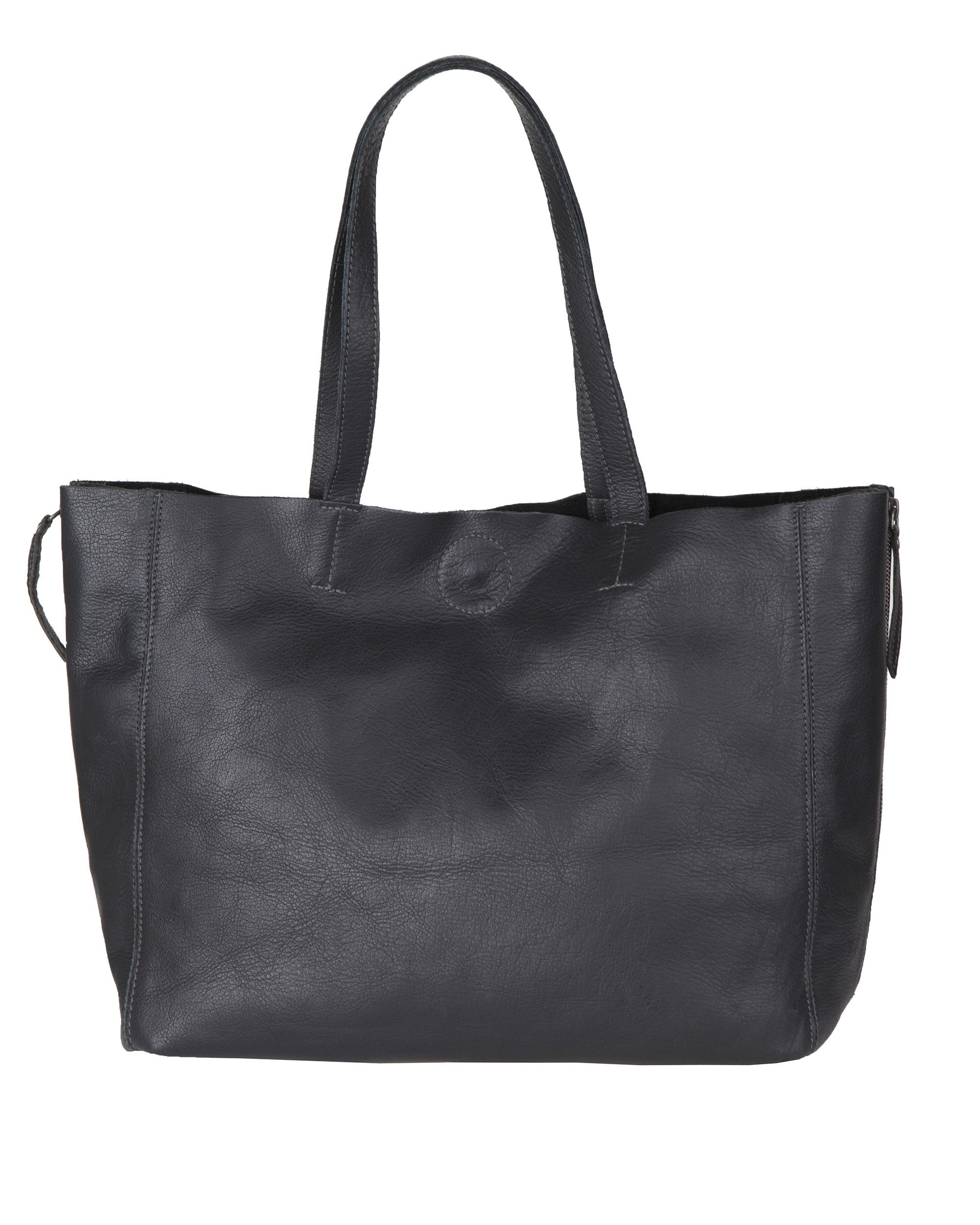 DAMES REAL LEATHER SHOPPER Zwart