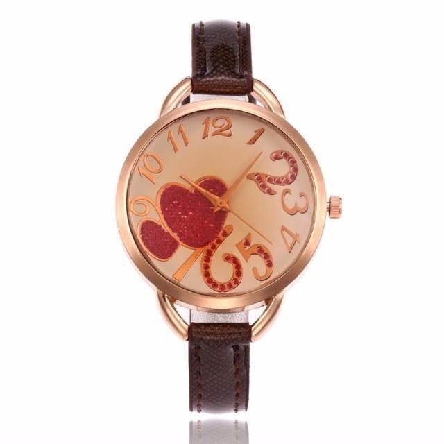 Reloj De Mujer 2017 Fashion Watches Women's Heart Pattern Faux Leather Band Quartz Analog Wrist Watch Watches montre femme #905