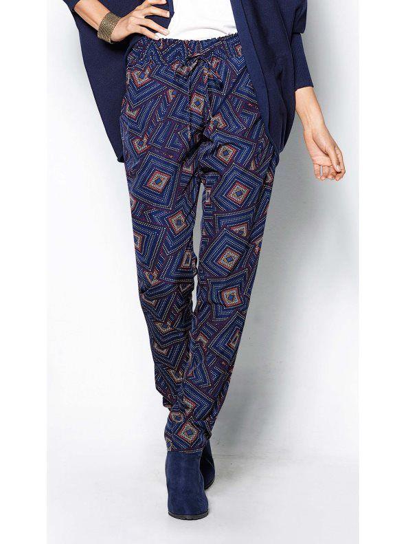 Pantalón largo mujer estampado cintura elástica