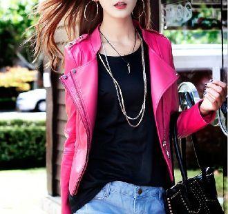 Womens Biker Jacket in Pink