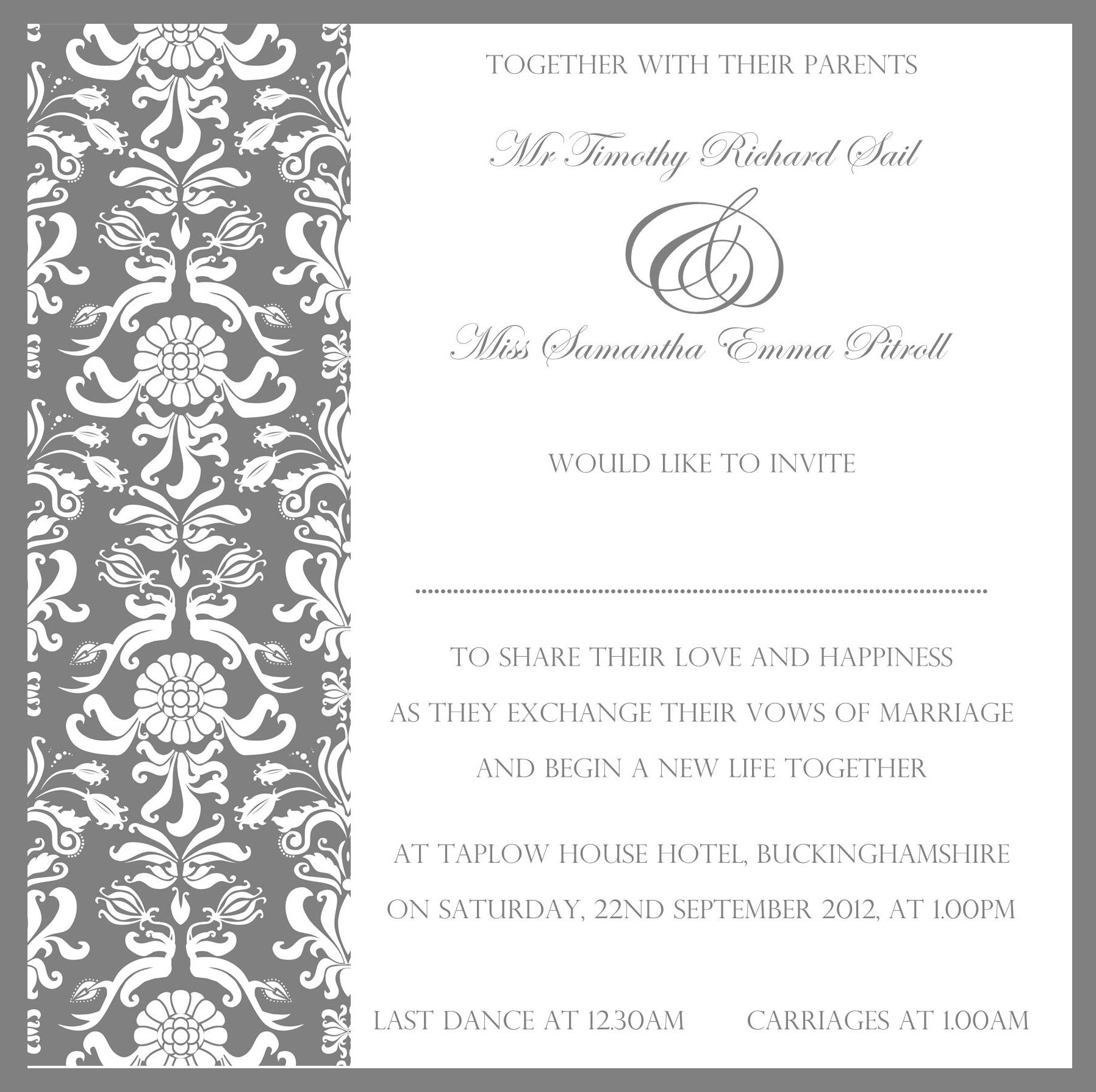 Beautiful invitation from www.sew-unique.co.uk