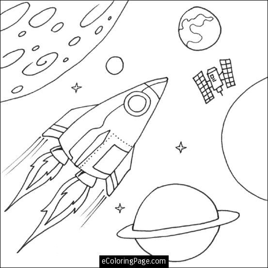 free space rocket and planets coloring page for kids - Planets Coloring Pages Printables