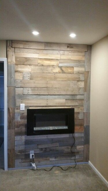 Pallet Fireplace I Added The Lights And Mounted The
