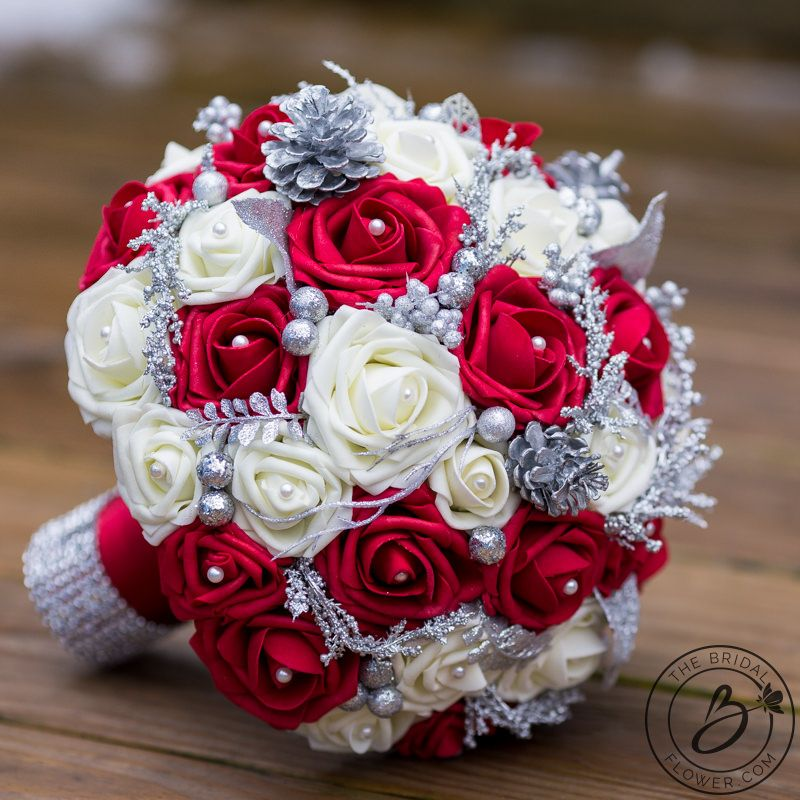 Red And Ivory Winter Wedding Bouquet Holiday Themed The Bridal