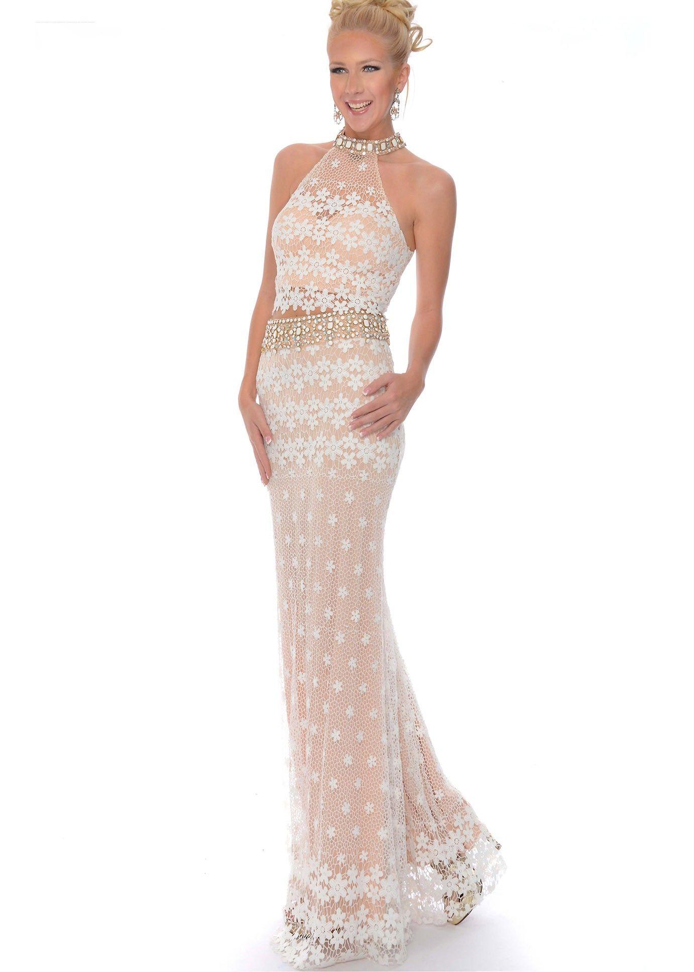 Hollywood envy by precious formals v white nude prom