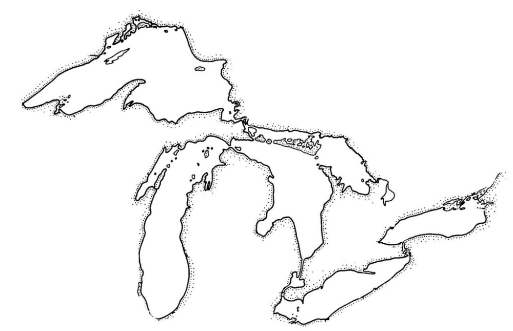 Shoreline Map Of The Great Lakes Great Lakes Map Great Lakes Tattoo Lake Map