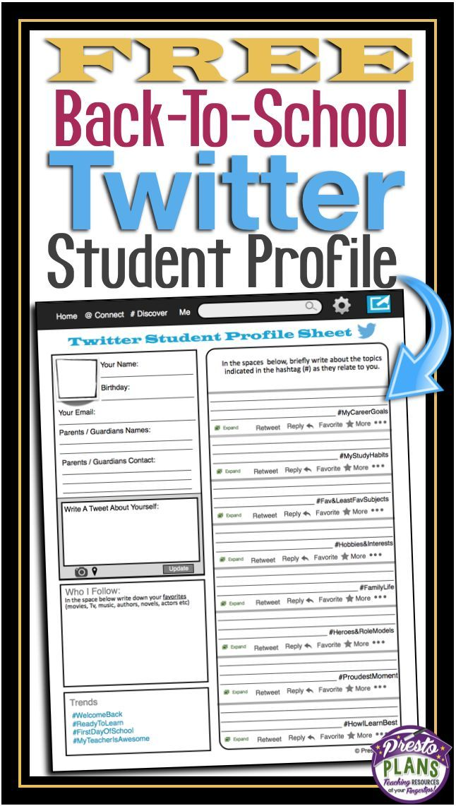 Free Back To School Student Profile Social Media Student