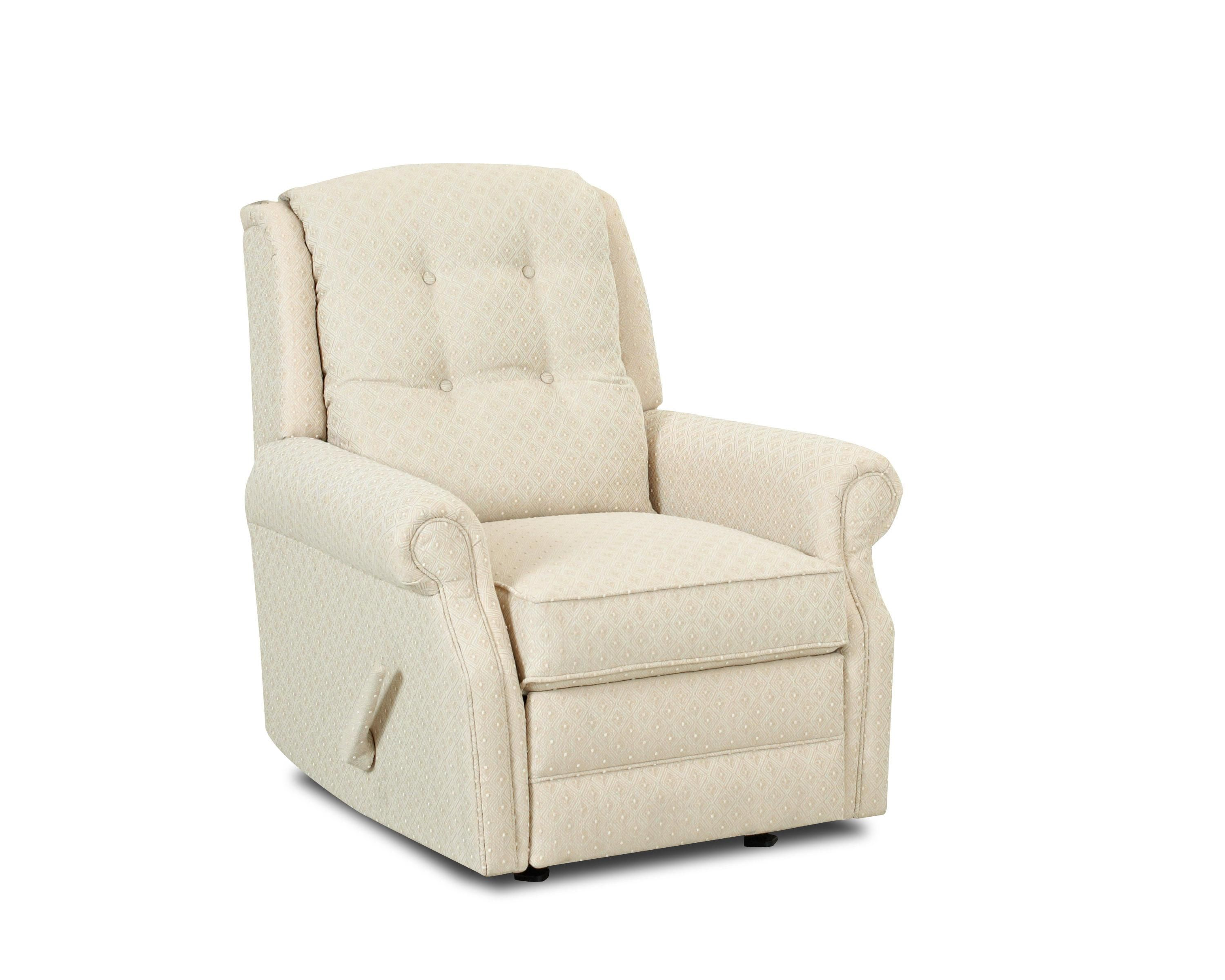 transitional manual gliding reclining chair with button tufting