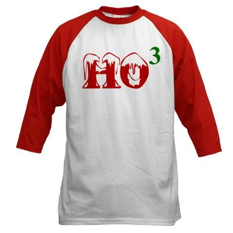 Ho to the 3rd power Christmas baseball jersey. Available in Men's, women's, children's and infant's sizes in a variety of styles and colors!