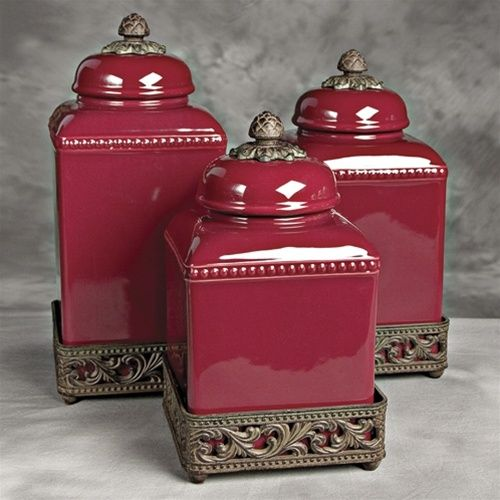 Amazing Burgundy Kitchen Canisters