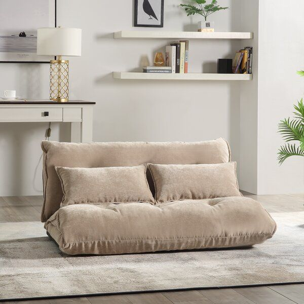 """Peasely Convertible 46"""" Armless Sofa   Small couch in ..."""