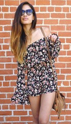 Cute Floral bare shoulder short jumper   Dress to Impress ... cf638c318c